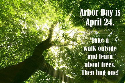 Arbor Day, April 24. Take a walk outside and learn about trees. Then hug one!